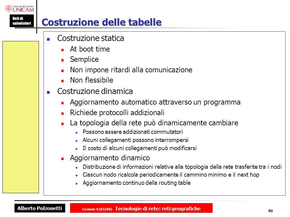 Alberto Polzonetti Reti di calcolatori Lezione 4 (03/04) Tecnologie di rete: reti geografiche 40 Costruzione delle tabelle Costruzione statica At boot