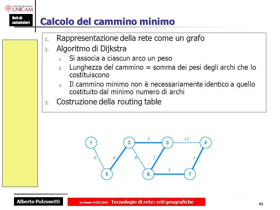 Alberto Polzonetti Reti di calcolatori Lezione 4 (03/04) Tecnologie di rete: reti geografiche 41 Calcolo del cammino minimo 1. Rappresentazione della