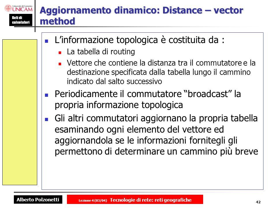 Alberto Polzonetti Reti di calcolatori Lezione 4 (03/04) Tecnologie di rete: reti geografiche 42 Aggiornamento dinamico: Distance – vector method Linf