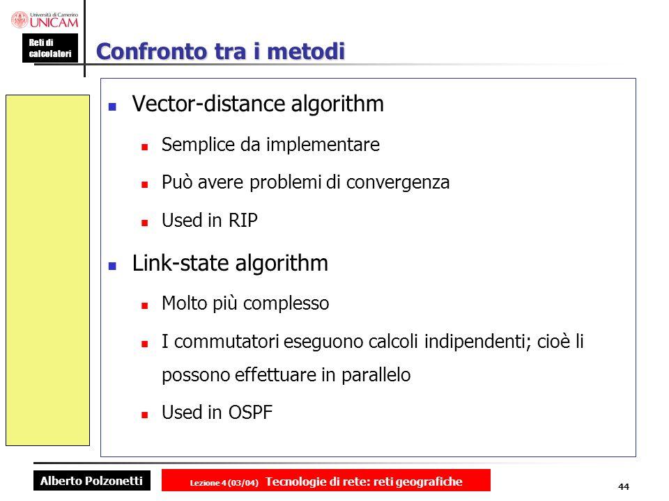 Alberto Polzonetti Reti di calcolatori Lezione 4 (03/04) Tecnologie di rete: reti geografiche 44 Confronto tra i metodi Vector-distance algorithm Semp