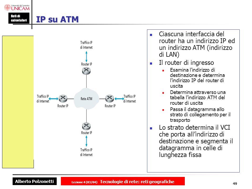 Alberto Polzonetti Reti di calcolatori Lezione 4 (03/04) Tecnologie di rete: reti geografiche 49 IP su ATM Ciascuna interfaccia del router ha un indir