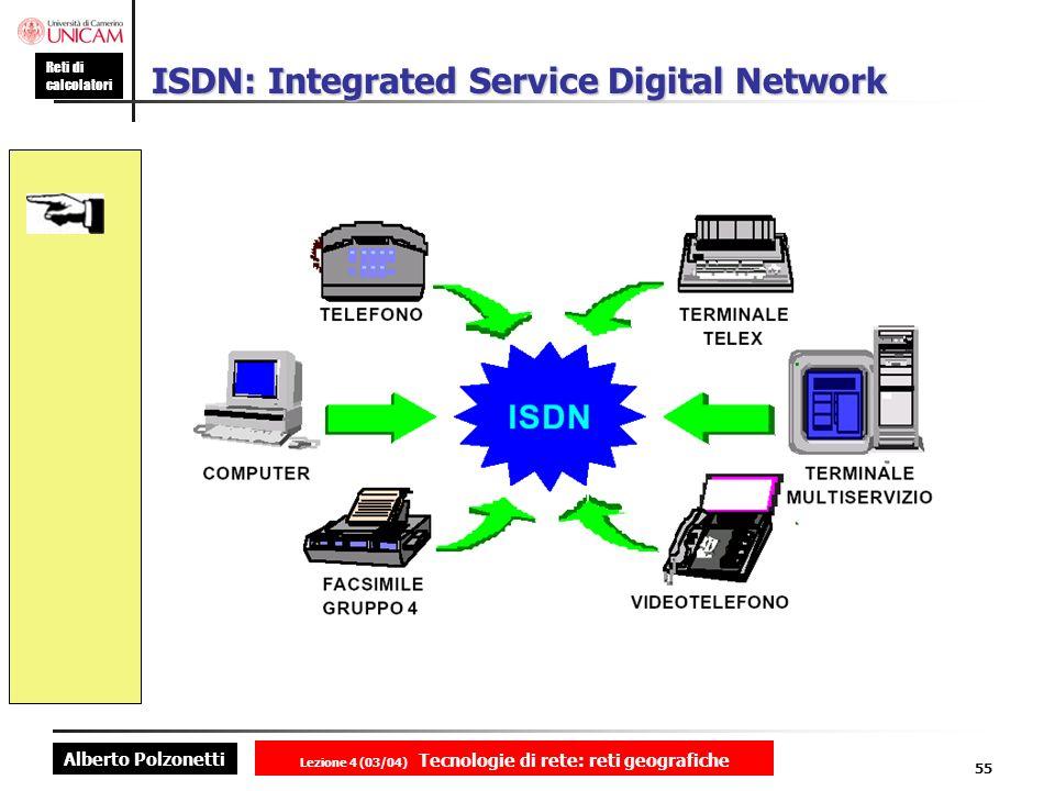 Alberto Polzonetti Reti di calcolatori Lezione 4 (03/04) Tecnologie di rete: reti geografiche 55 ISDN: Integrated Service Digital Network