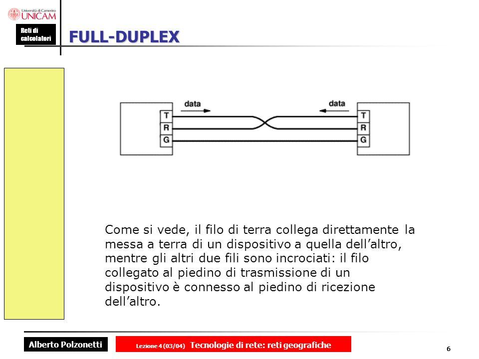 Alberto Polzonetti Reti di calcolatori Lezione 4 (03/04) Tecnologie di rete: reti geografiche 6 FULL-DUPLEX Come si vede, il filo di terra collega dir