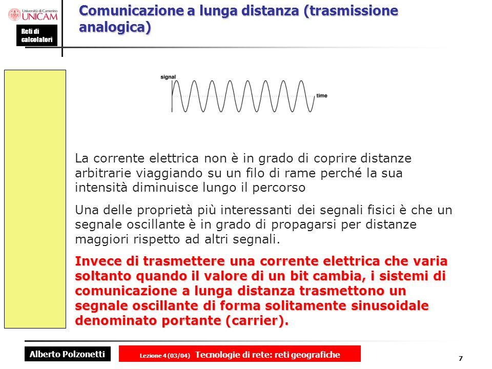 Alberto Polzonetti Reti di calcolatori Lezione 4 (03/04) Tecnologie di rete: reti geografiche 7 Comunicazione a lunga distanza (trasmissione analogica