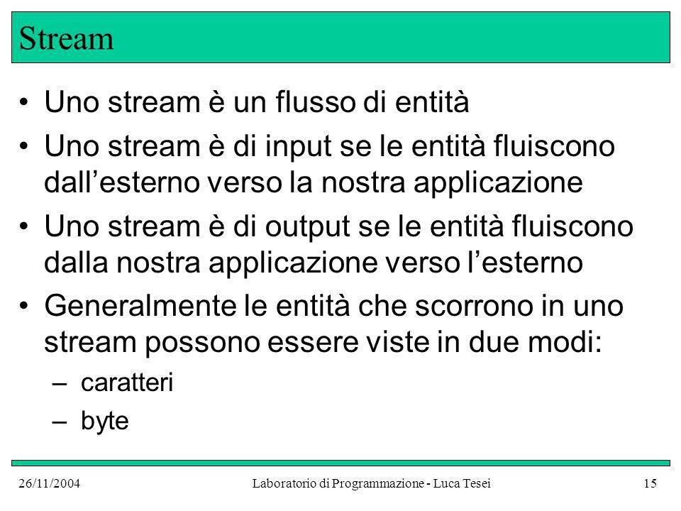 26/11/2004Laboratorio di Programmazione - Luca Tesei15 Stream Uno stream è un flusso di entità Uno stream è di input se le entità fluiscono dallestern