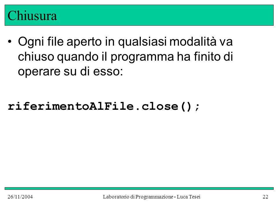 26/11/2004Laboratorio di Programmazione - Luca Tesei22 Chiusura Ogni file aperto in qualsiasi modalità va chiuso quando il programma ha finito di oper