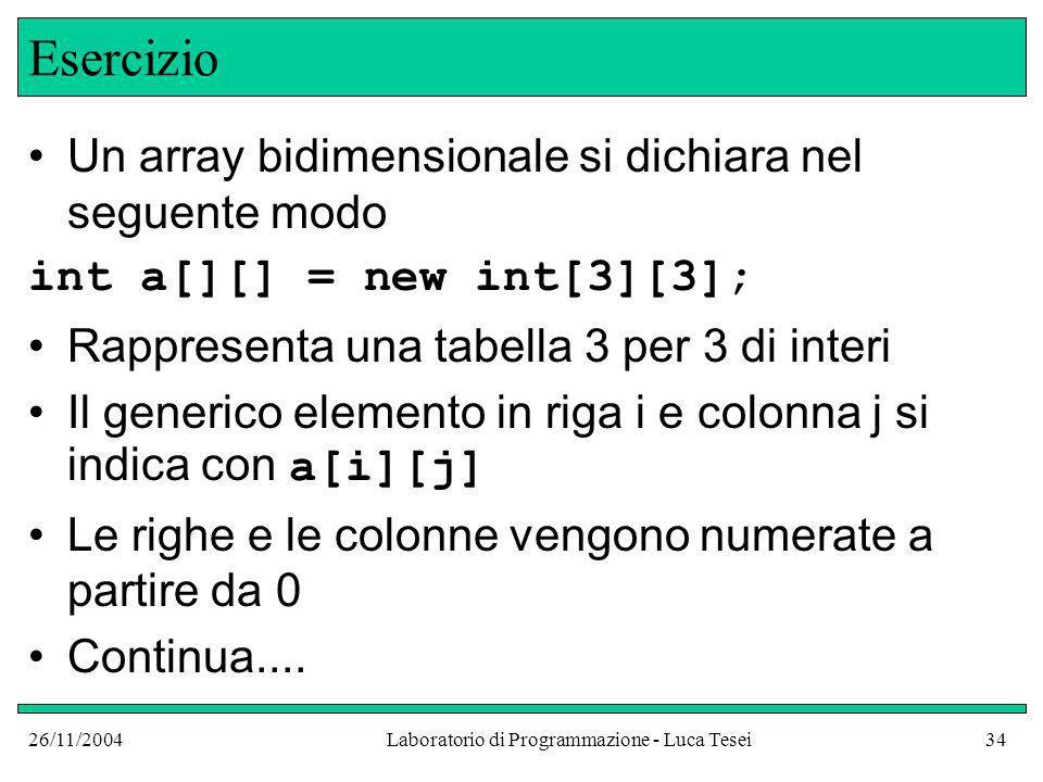 26/11/2004Laboratorio di Programmazione - Luca Tesei34 Esercizio Un array bidimensionale si dichiara nel seguente modo int a[][] = new int[3][3]; Rappresenta una tabella 3 per 3 di interi Il generico elemento in riga i e colonna j si indica con a[i][j] Le righe e le colonne vengono numerate a partire da 0 Continua....