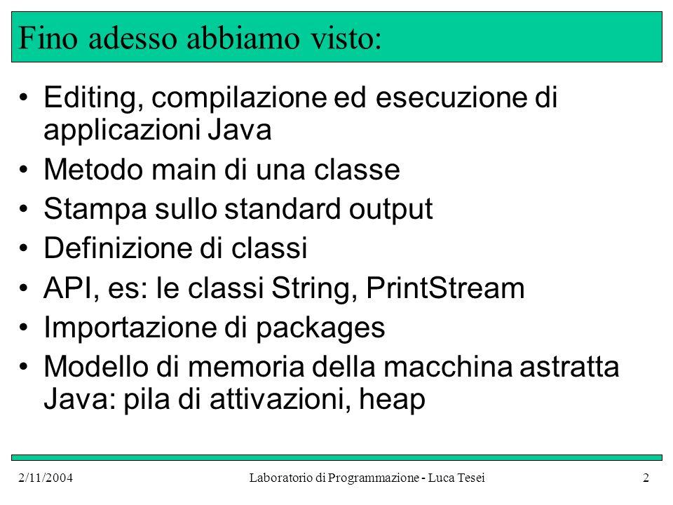 2/11/2004Laboratorio di Programmazione - Luca Tesei2 Fino adesso abbiamo visto: Editing, compilazione ed esecuzione di applicazioni Java Metodo main di una classe Stampa sullo standard output Definizione di classi API, es: le classi String, PrintStream Importazione di packages Modello di memoria della macchina astratta Java: pila di attivazioni, heap
