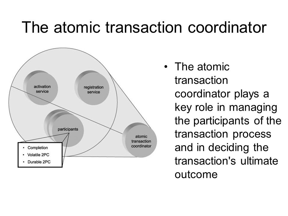 Atomic Transaction Type : five protocols PhaseZero: –A participant that wants the coordinator to notify it just before the 2PC protocol begins registers for this.