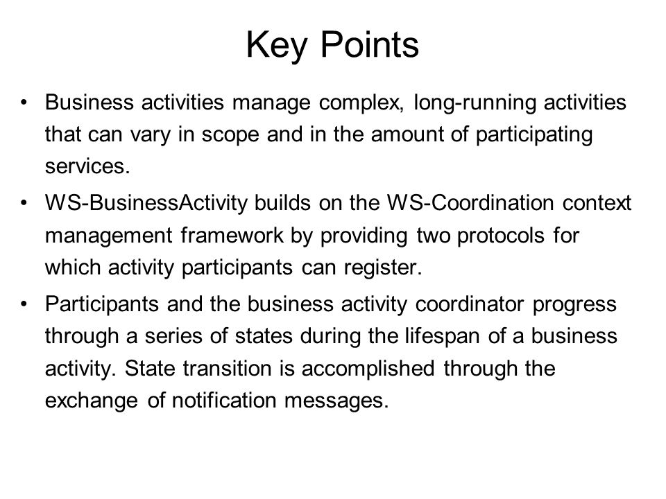 Business activity and atomic transactions