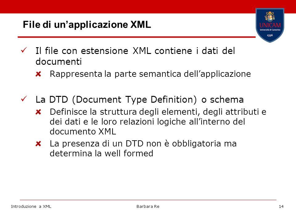 Introduzione a XMLBarbara Re14 File di unapplicazione XML Il file con estensione XML contiene i dati del documenti Rappresenta la parte semantica dellapplicazione La DTD (Document Type Definition) o schema Definisce la struttura degli elementi, degli attributi e dei dati e le loro relazioni logiche allinterno del documento XML La presenza di un DTD non è obbligatoria ma determina la well formed