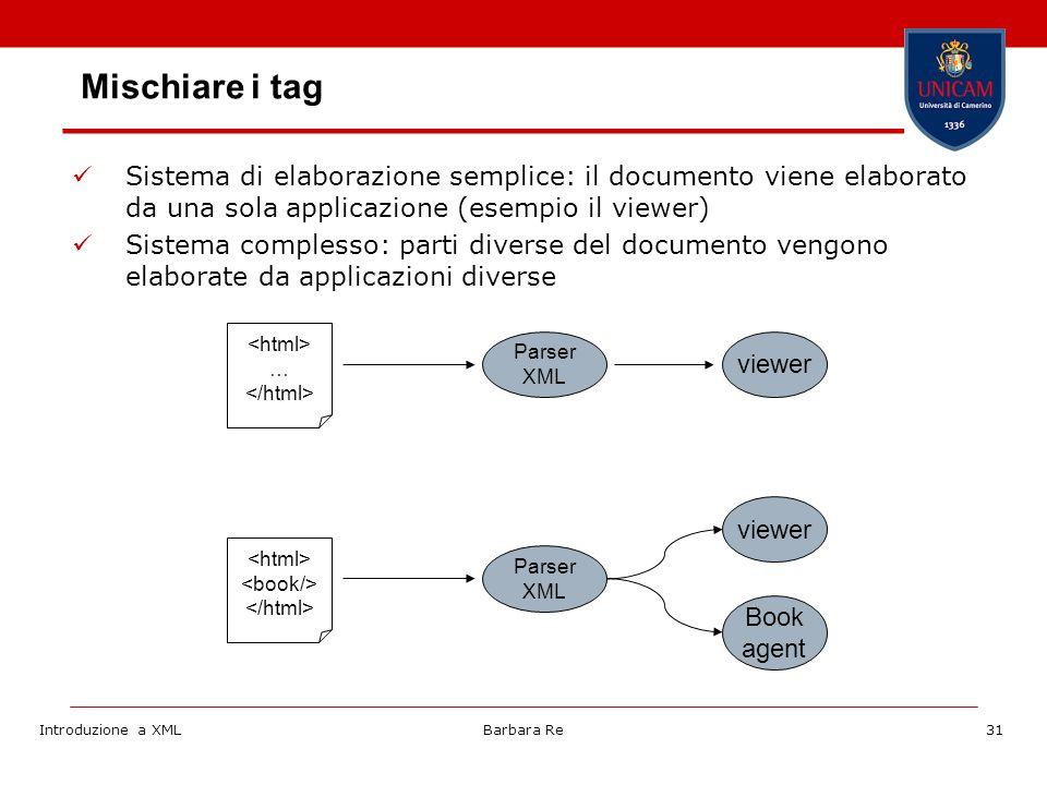 Introduzione a XMLBarbara Re31 Mischiare i tag Sistema di elaborazione semplice: il documento viene elaborato da una sola applicazione (esempio il viewer) Sistema complesso: parti diverse del documento vengono elaborate da applicazioni diverse … Parser XML viewer Parser XML viewer Book agent
