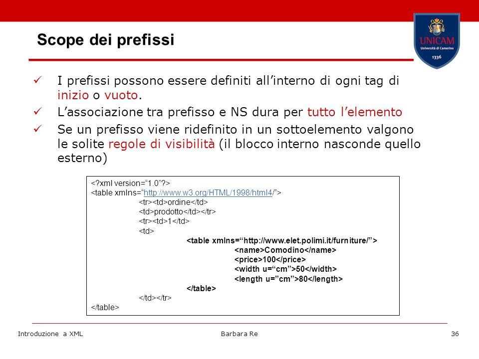 Introduzione a XMLBarbara Re36 Scope dei prefissi I prefissi possono essere definiti allinterno di ogni tag di inizio o vuoto.