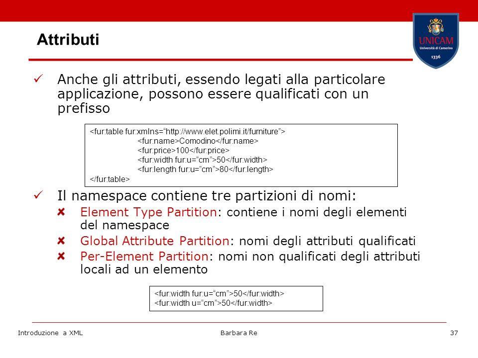 Introduzione a XMLBarbara Re37 Attributi Anche gli attributi, essendo legati alla particolare applicazione, possono essere qualificati con un prefisso Il namespace contiene tre partizioni di nomi: Element Type Partition: contiene i nomi degli elementi del namespace Global Attribute Partition: nomi degli attributi qualificati Per-Element Partition: nomi non qualificati degli attributi locali ad un elemento Comodino 100 50 80 50