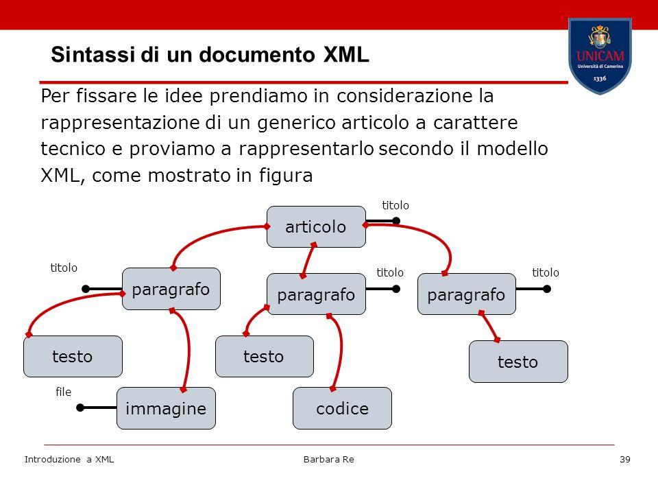 Introduzione a XMLBarbara Re39 Per fissare le idee prendiamo in considerazione la rappresentazione di un generico articolo a carattere tecnico e proviamo a rappresentarlo secondo il modello XML, come mostrato in figura articolo testo paragrafo testo immagine paragrafo codice testo titolo file Sintassi di un documento XML