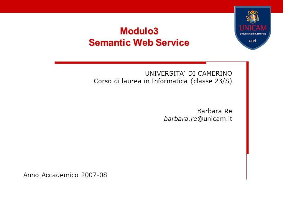 Modulo3 Semantic Web Service UNIVERSITA DI CAMERINO Corso di laurea in Informatica (classe 23/S) Barbara Re barbara.re@unicam.it Anno Accademico 2007-08