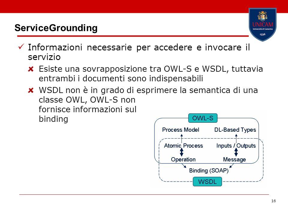 16 ServiceGrounding Informazioni necessarie per accedere e invocare il servizio Esiste una sovrapposizione tra OWL-S e WSDL, tuttavia entrambi i documenti sono indispensabili WSDL non è in grado di esprimere la semantica di una classe OWL, OWL-S non fornisce informazioni sul binding