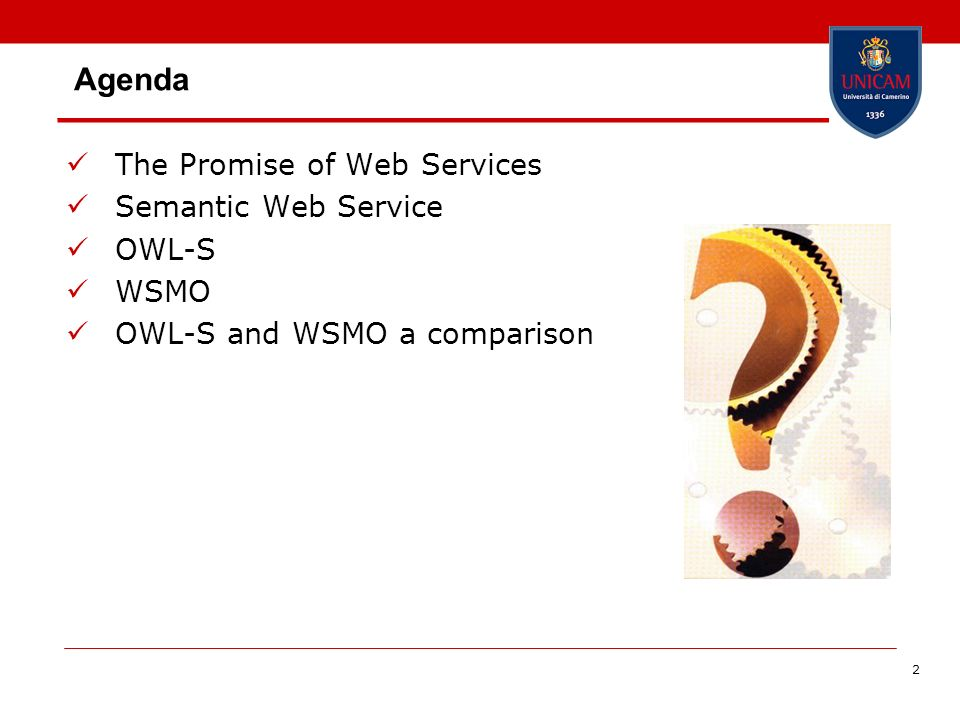 43 OWL-S and WSMO OWL-S uses Profiles to express existing capabilities (advertisements) and desired capabilities (requests) WSMO separates provider (capabilities) and requester points of view (goals) OWL-S profile WSMO capability + goal + non-functional properties