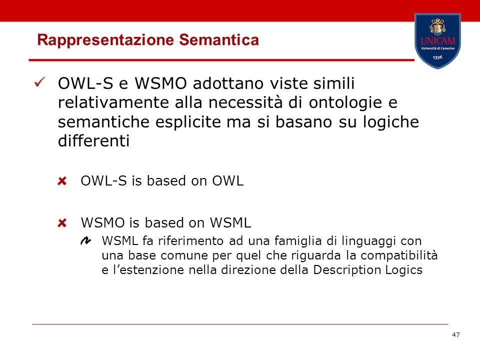 47 Rappresentazione Semantica OWL-S e WSMO adottano viste simili relativamente alla necessità di ontologie e semantiche esplicite ma si basano su logiche differenti OWL-S is based on OWL WSMO is based on WSML WSML fa riferimento ad una famiglia di linguaggi con una base comune per quel che riguarda la compatibilità e lestenzione nella direzione della Description Logics