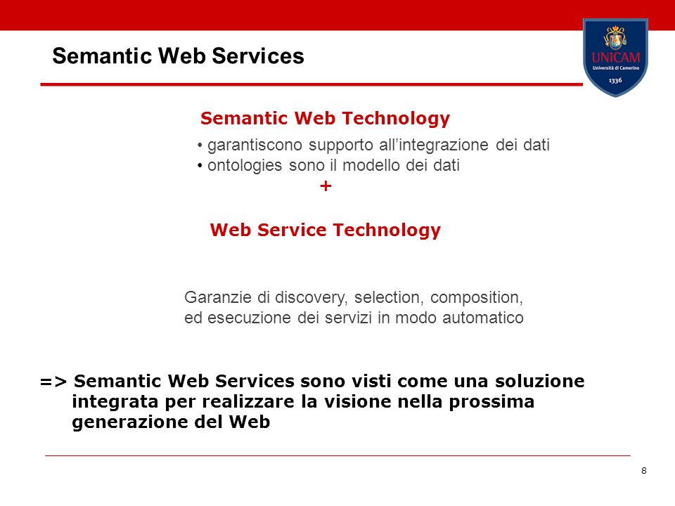 19 WSMO Top Level Notions Objectives that a client wants to achieve by using Web Services Provide the formally specified terminology of the information used by all other components Semantic description of Web Services: - Capability (functional) - Interfaces (usage) Connectors between components with mediation facilities for handling heterogeneities