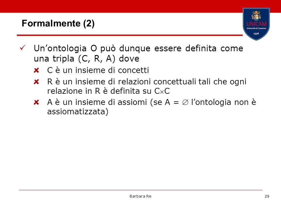 Barbara Re29 Formalmente (2) Unontologia O può dunque essere definita come una tripla (C, R, A) dove C è un insieme di concetti R è un insieme di rela
