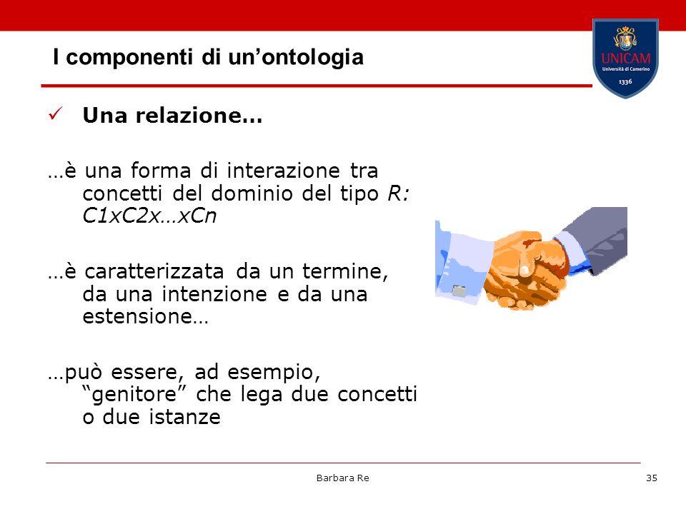 Barbara Re35 I componenti di unontologia Una relazione… …è una forma di interazione tra concetti del dominio del tipo R: C1xC2x…xCn …è caratterizzata