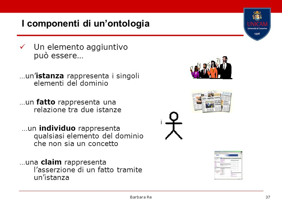 Barbara Re37 I componenti di unontologia Un elemento aggiuntivo può essere… …unistanza rappresenta i singoli elementi del dominio …un fatto rappresent
