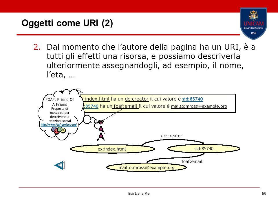 Barbara Re59 Oggetti come URI (2) 2.Dal momento che lautore della pagina ha un URI, è a tutti gli effetti una risorsa, e possiamo descriverla ulterior