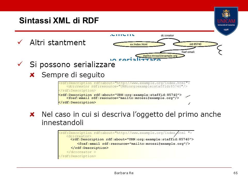 Barbara Re65 Sintassi XML di RDF Altri stantment Si possono serializzare Sempre di seguito Nel caso in cui si descriva loggetto del primo anche innest