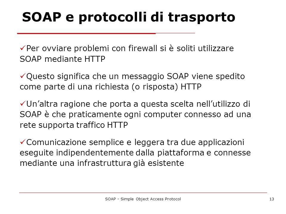 SOAP - Simple Object Access Protocol13 SOAP e protocolli di trasporto Per ovviare problemi con firewall si è soliti utilizzare SOAP mediante HTTP Ques