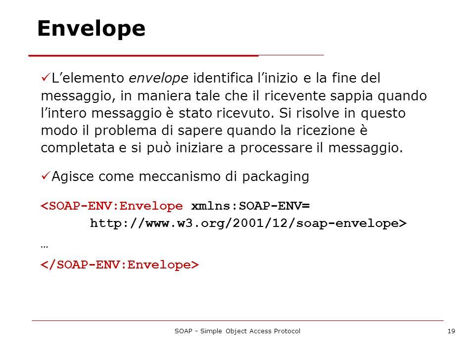 SOAP - Simple Object Access Protocol19 Lelemento envelope identifica linizio e la fine del messaggio, in maniera tale che il ricevente sappia quando l