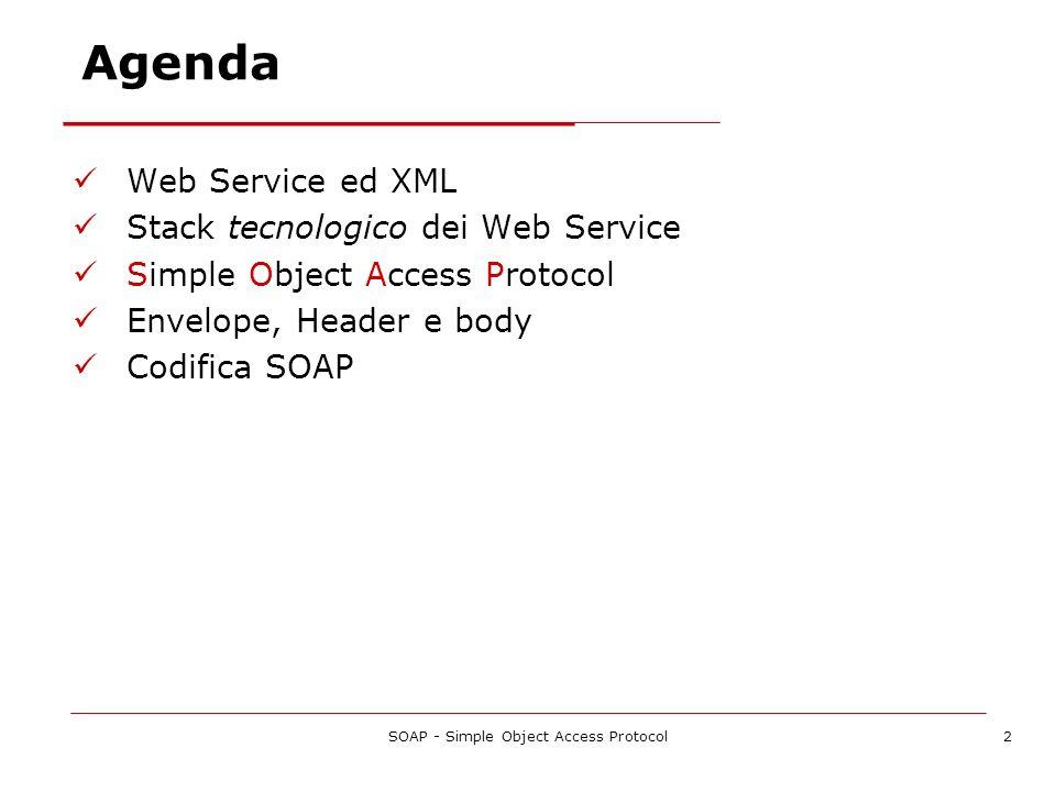SOAP - Simple Object Access Protocol3 Web Service ed XML XML è una famiglia di tecnologie: XML 1.0, XML Schema, XML namespace, Xpointer, Xpath, Xlink, XSLT, DOM,...