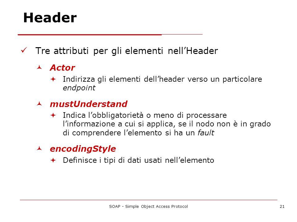 SOAP - Simple Object Access Protocol21 Header Tre attributi per gli elementi nellHeader Actor Indirizza gli elementi dellheader verso un particolare e