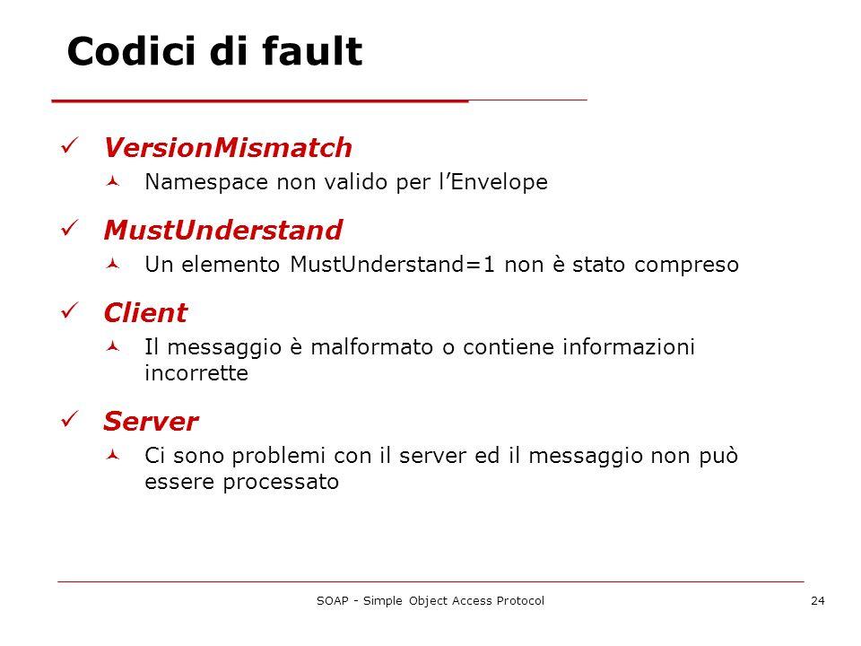 SOAP - Simple Object Access Protocol24 Codici di fault VersionMismatch Namespace non valido per lEnvelope MustUnderstand Un elemento MustUnderstand=1