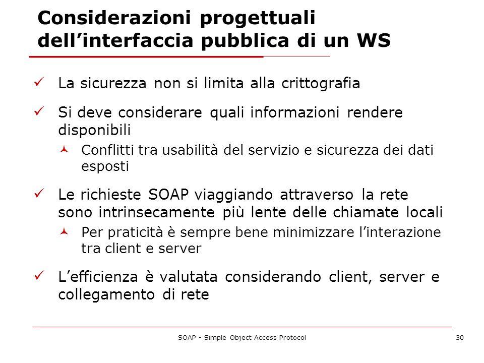 SOAP - Simple Object Access Protocol30 Considerazioni progettuali dellinterfaccia pubblica di un WS La sicurezza non si limita alla crittografia Si de