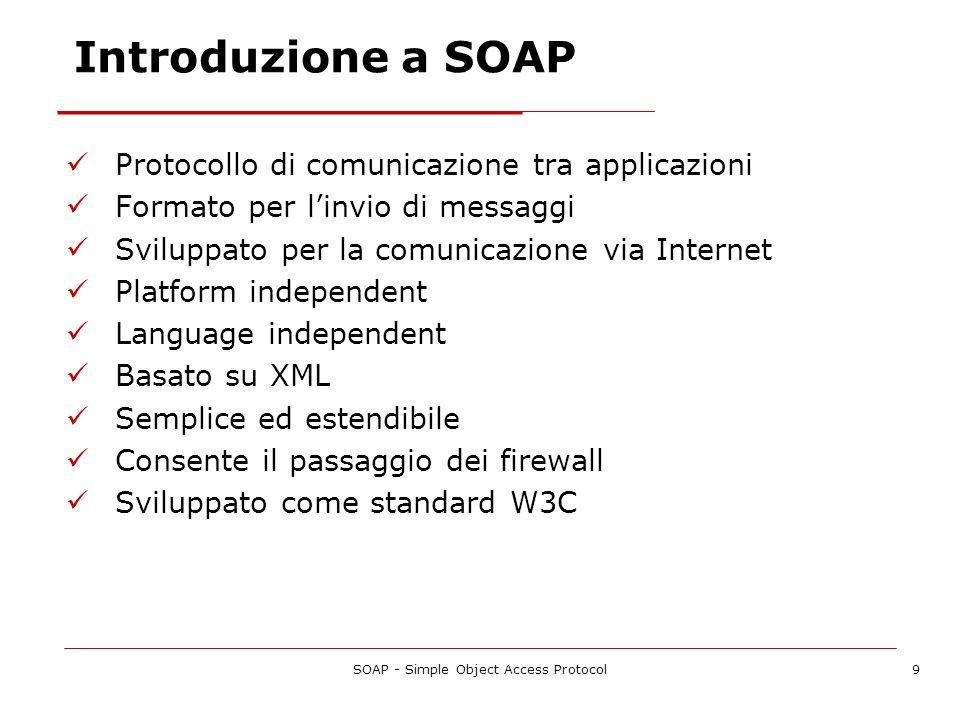 SOAP - Simple Object Access Protocol9 Introduzione a SOAP Protocollo di comunicazione tra applicazioni Formato per linvio di messaggi Sviluppato per l