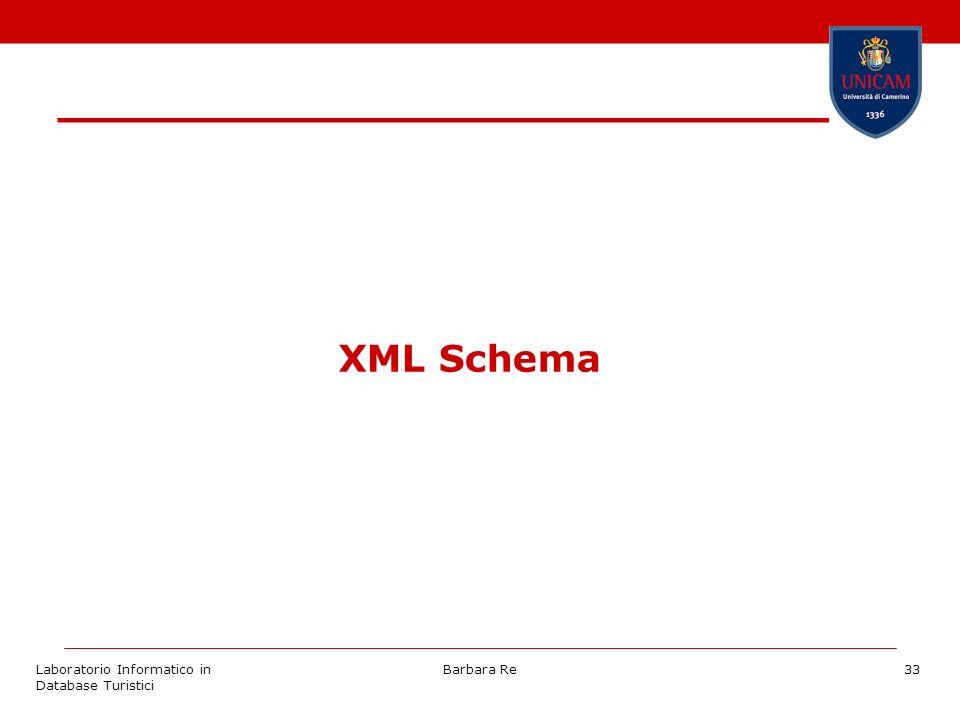 Laboratorio Informatico in Database Turistici Barbara Re33 XML Schema