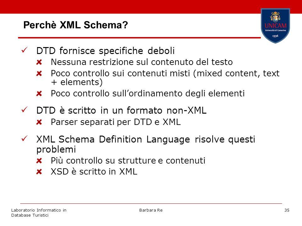 Laboratorio Informatico in Database Turistici Barbara Re35 Perchè XML Schema.