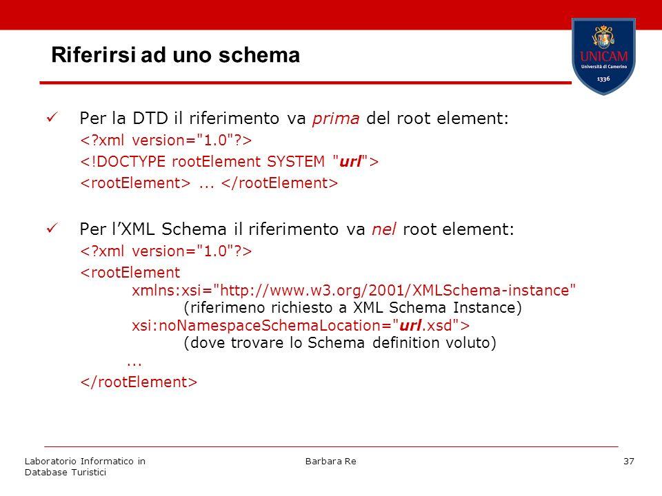 Laboratorio Informatico in Database Turistici Barbara Re37 Riferirsi ad uno schema Per la DTD il riferimento va prima del root element:...