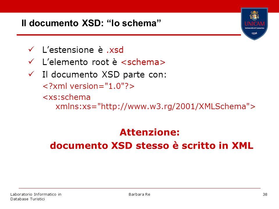 Laboratorio Informatico in Database Turistici Barbara Re38 Il documento XSD: lo schema Lestensione è.xsd Lelemento root è Il documento XSD parte con: Attenzione: documento XSD stesso è scritto in XML