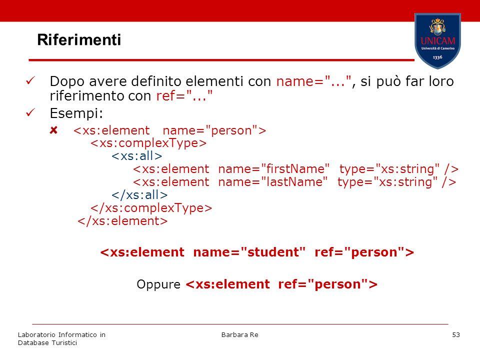 Laboratorio Informatico in Database Turistici Barbara Re53 Riferimenti Dopo avere definito elementi con name= ... , si può far loro riferimento con ref= ... Esempi: Oppure