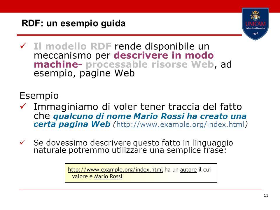 11 RDF: un esempio guida Il modello RDF rende disponibile un meccanismo per descrivere in modo machine- processable risorse Web, ad esempio, pagine We