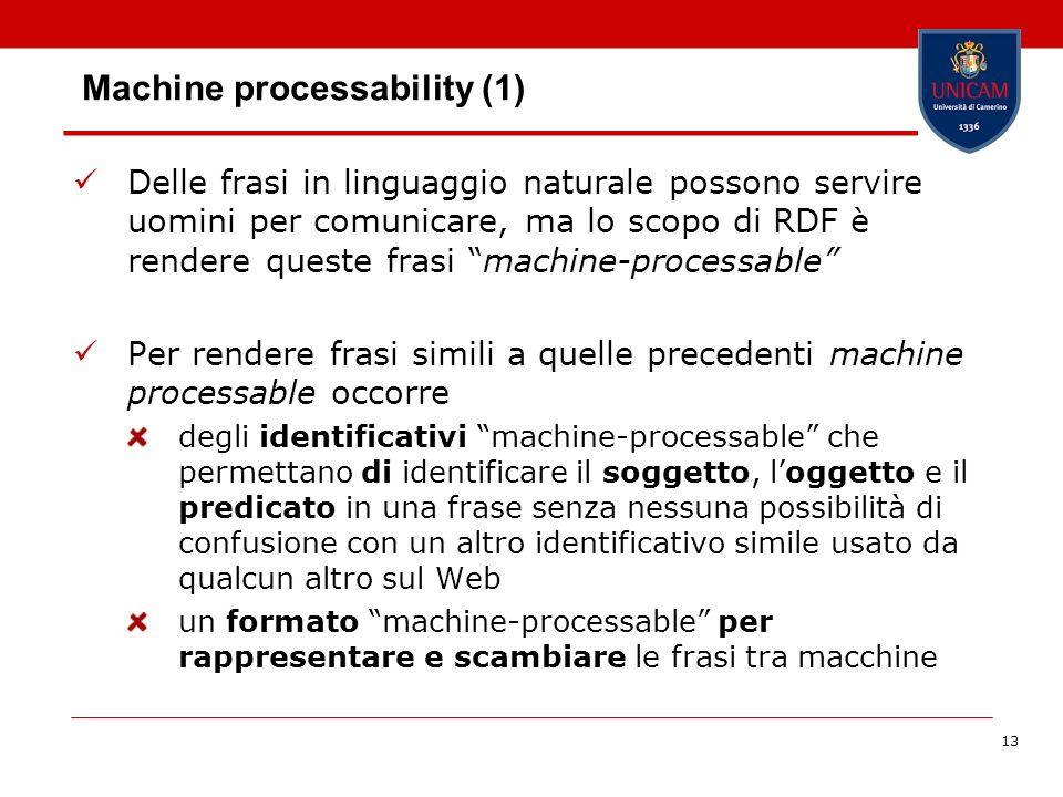 13 Machine processability (1) Delle frasi in linguaggio naturale possono servire uomini per comunicare, ma lo scopo di RDF è rendere queste frasi mach