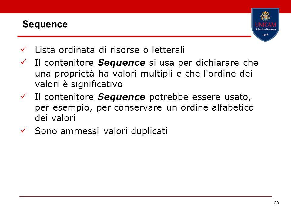 53 Sequence Lista ordinata di risorse o letterali Il contenitore Sequence si usa per dichiarare che una proprietà ha valori multipli e che l'ordine de