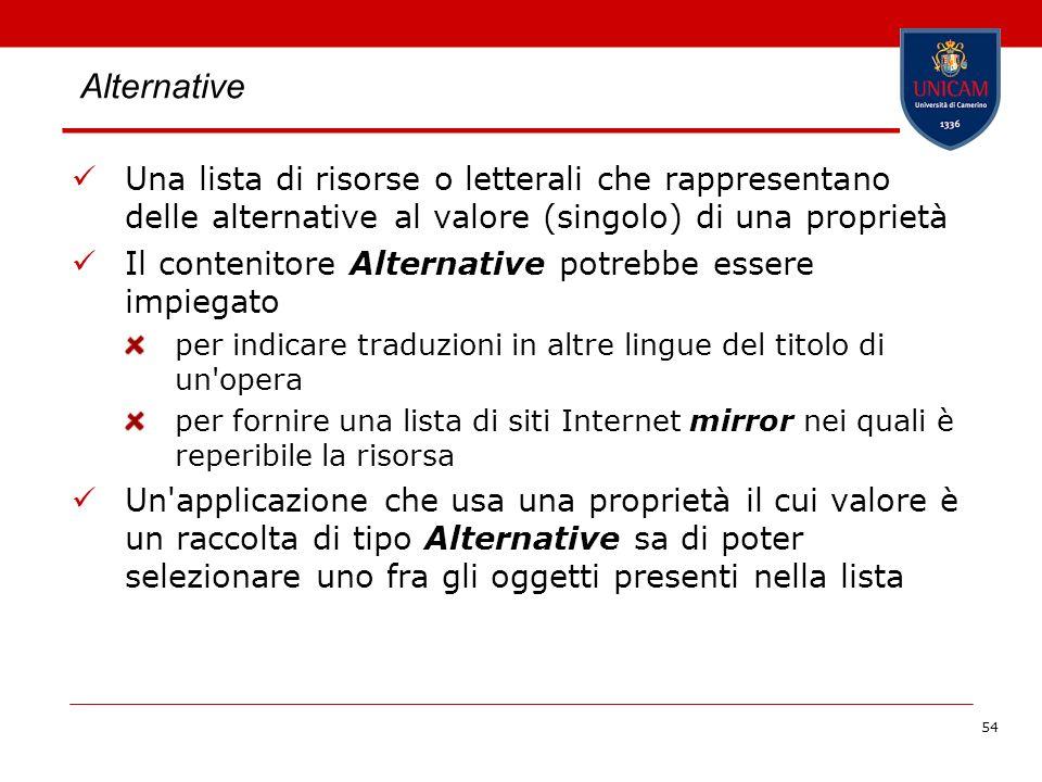 54 Alternative Una lista di risorse o letterali che rappresentano delle alternative al valore (singolo) di una proprietà Il contenitore Alternative po