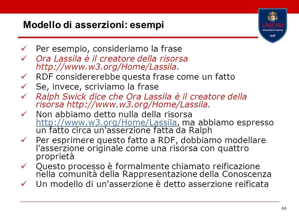 66 Modello di asserzioni: esempi Per esempio, consideriamo la frase Ora Lassila è il creatore della risorsa http://www.w3.org/Home/Lassila. RDF consid