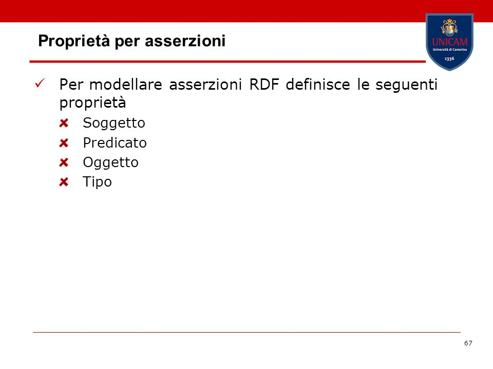67 Proprietà per asserzioni Per modellare asserzioni RDF definisce le seguenti proprietà Soggetto Predicato Oggetto Tipo