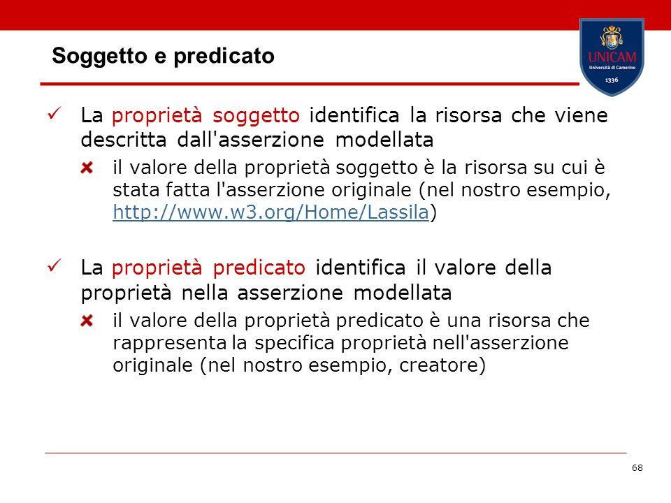 68 Soggetto e predicato La proprietà soggetto identifica la risorsa che viene descritta dall'asserzione modellata il valore della proprietà soggetto è