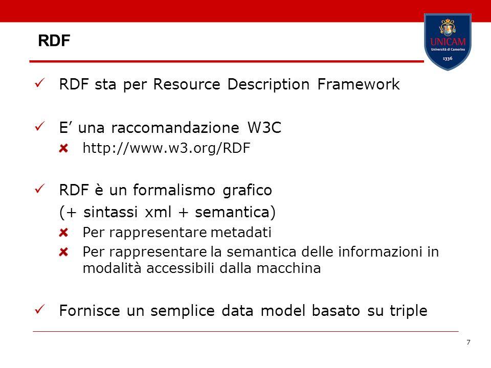 7 RDF RDF sta per Resource Description Framework E una raccomandazione W3C http://www.w3.org/RDF RDF è un formalismo grafico (+ sintassi xml + semanti