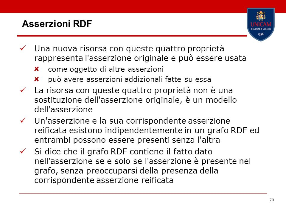 70 Asserzioni RDF Una nuova risorsa con queste quattro proprietà rappresenta l'asserzione originale e può essere usata come oggetto di altre asserzion